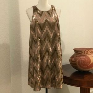 Aidan Mattox Rose Gold Swing Sequin Dress